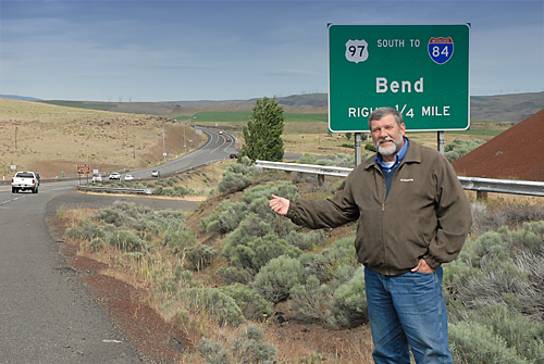 Alan Penn hitching a ride to Bend, OR